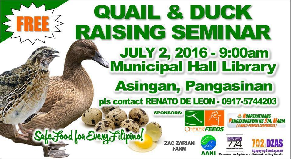 Quail and Duck Raising Seminar