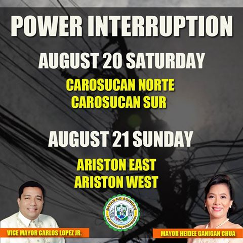 NOTICE OF POWER INTERRUPTION August 20