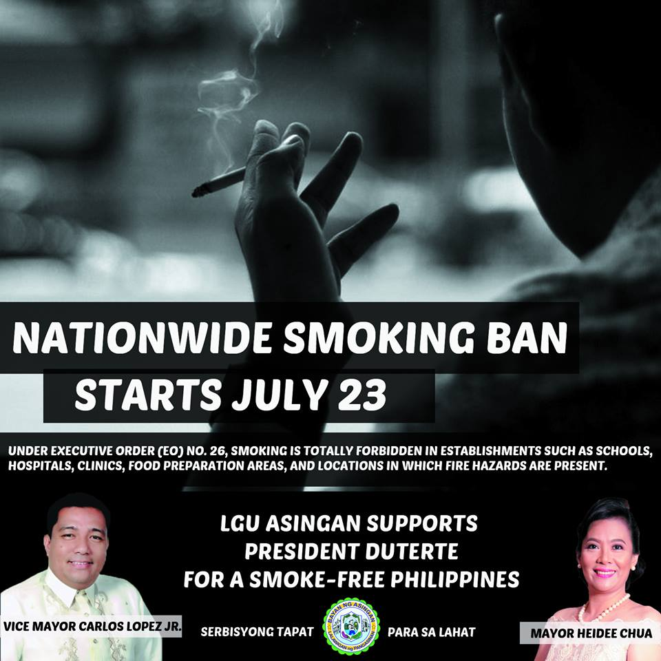 LGU Asingan supports President Duterte for a smoke-free Philippines